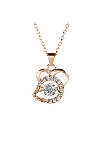 Her Jewellery gold 12 Dancing Zodiac Pendant (Rat) RG - Made with premium grade crystals from Austria 22692AC936ED81GS_1