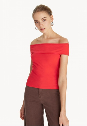d5f2ce0bfd4254 Pomelo red Contrast Piping Cold Shoulder Top - Red F6904AAA305292GS 1