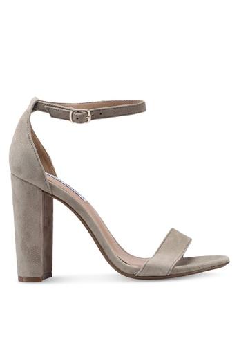 Steve Madden grey Carrson Open Toe Ankle Strap Block Heels BC441SH05FE9EFGS_1