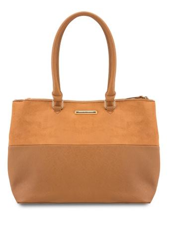 Dorothy Perkins brown Tan Double Zip Tote Bag DO816AC21DFAMY_1