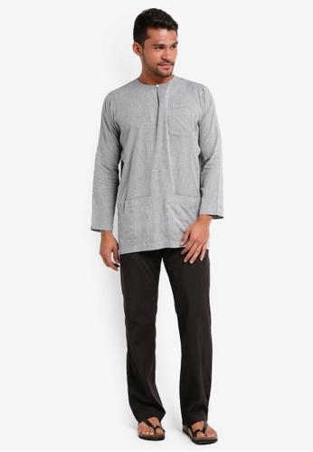 Lubna black Checkered Baju Melayu Teluk Belanga 6C710AAEBEA1A4GS_1