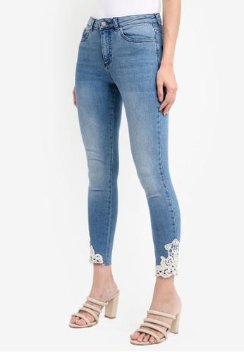 Miss Selfridge 藍色 Crochet Hem Jeans B4C61AA33333F7GS_1