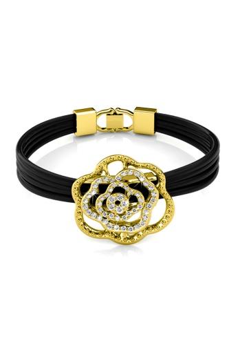 Her Jewellery black and yellow Swarovski® Crystals - Rosy Bracelet (Yellow Gold)(18K White Gold Plated) Her Jewellery HE581AC0RAZFMY_1