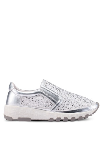 prettyFIT silver Crystal Embellished Slip Ons 8C7EBSH5E05B0CGS_1