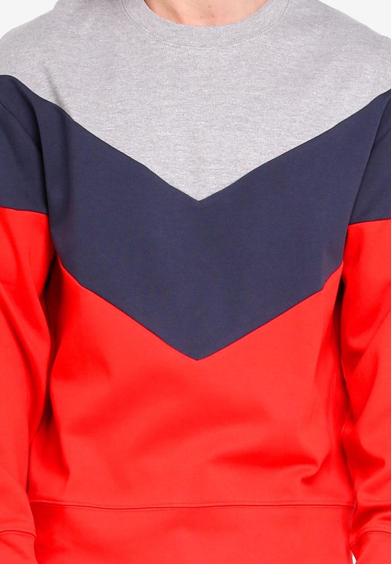 Chevron Multi Red Topman Panel Bright Sweatshirt ABwdwCqx7