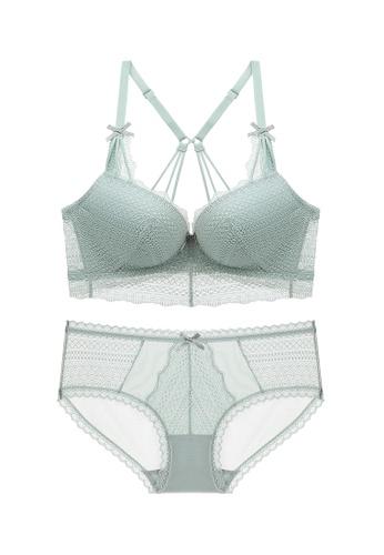 ZITIQUE green Swanky Lingerie Set (Bra And Underwear) - Light Green 2CB16US62DD56FGS_1