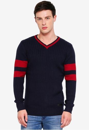 Indicode Jeans 海軍藍色 V領針織毛衣 6E651AAF10B8B0GS_1