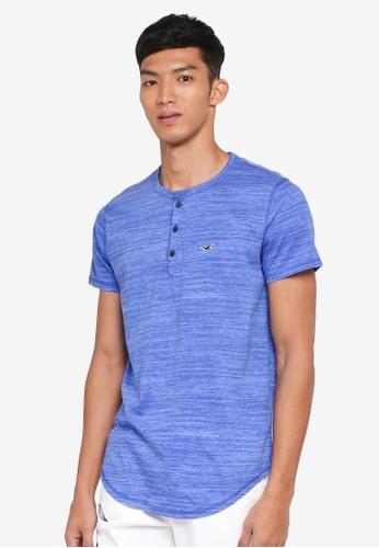 Hollister blue Henley T-Shirt E0E40AA4ED6A91GS_1