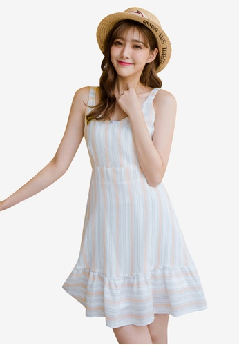 Tokichoi pink Stripe Tie-Front Dress EBD95AA3DB1CA5GS_1