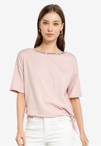UniqTee pink U Decide What U Are Cropped Top 1FE53AA02B6034GS_1