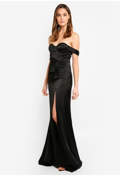 0aa51f5fb4c Elle Zeitoune black Satin Fluid Gown With One Shoulder Detail  5F0FFAA866AC1CGS 1
