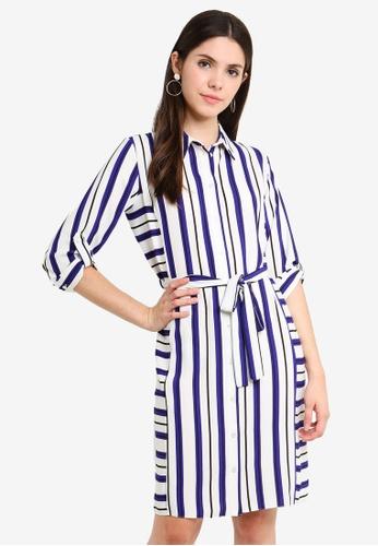 1cdc214744 Buy Dorothy Perkins I:Cream And Blue Stripe Dress Online on ZALORA Singapore