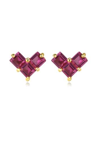 SUNRAIS gold High quality Silver S925 golden heart earrings C6846AC64F380FGS_1