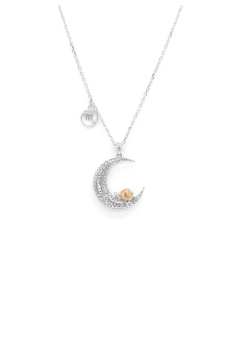 Glamorousky silver 925 Sterling Silver Rose on the Moon Pendant with horoscope necklace - Scorpio 016FBAC7157864GS_1