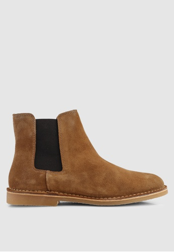 Selected Homme brown Royce Chelsea Suede Boots 4A77ASHD658D66GS_1