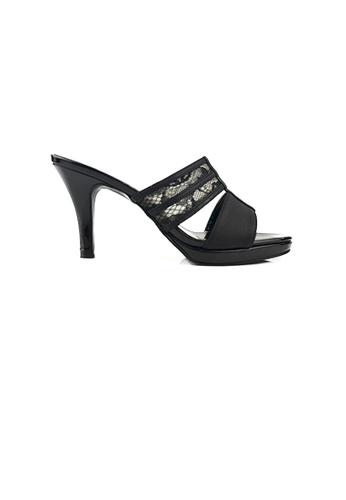 SHINE black Lace Up Platform Sandels F76B3SHA5BFA6DGS_1