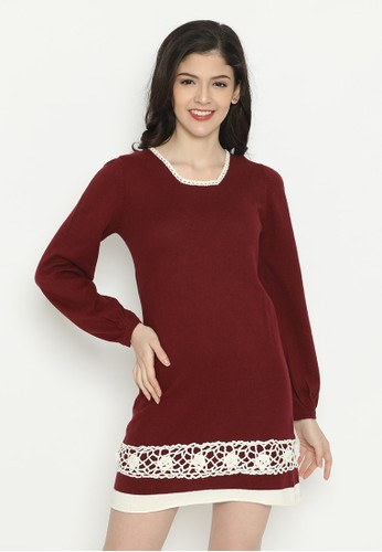 Mobile Power red Long Sleeve Midi Dress Knitting Maroon Mobile Power Ladies - D20413 F1083AA508820AGS_1