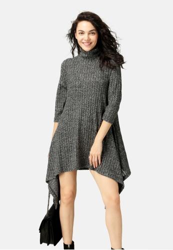 London Rag grey Long Sleeve Irregular Hem Sweater Dress A987FAA065E84AGS_1