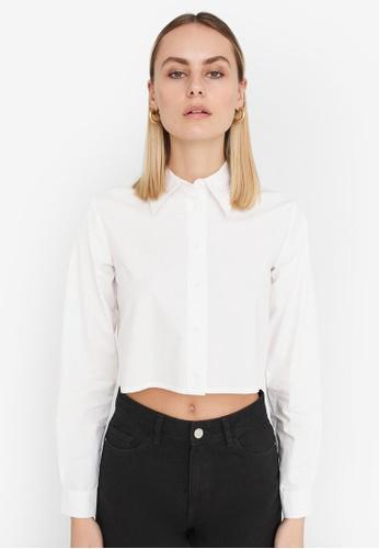 Noisy May white Pinar Cropped Shirt 04A5BAA282D658GS_1