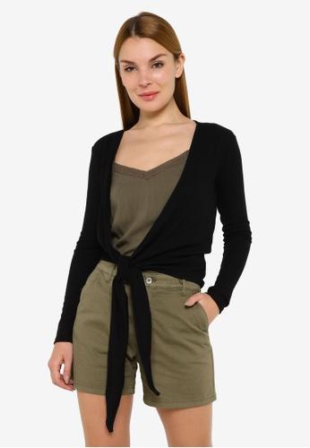 JACQUELINE DE YONG black Ella Long Sleeve Tie Tops EA71EAA2554B49GS_1