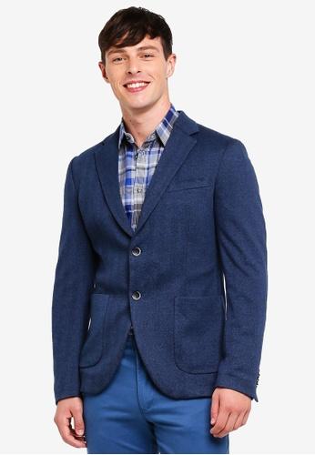 Sisley 藍色 舒適修身西裝外套 C81F5AA95CA630GS_1