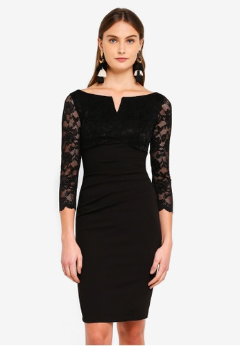 Goddiva black Lace Top Midi Dress F8581AA336A1CAGS_1