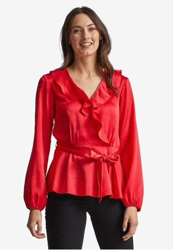 Dorothy Perkins red Red Ruffle Wrap Top 2D5A6AA341622EGS_1