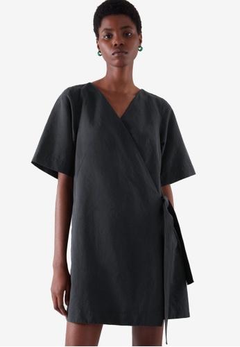 Cos black Mini Wrap Dress 46257AA7774FF1GS_1