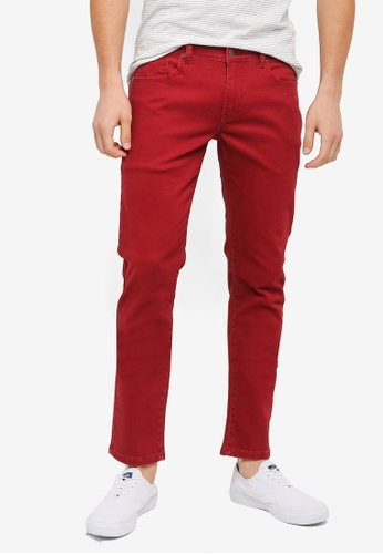 ZALORA red Slim Fit Coloured Jeans E423EAAC1917DCGS_1