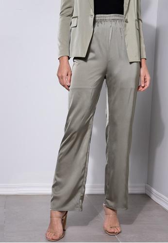 ZALORA OCCASION green Straight Leg Pants D903CAA7B55822GS_1
