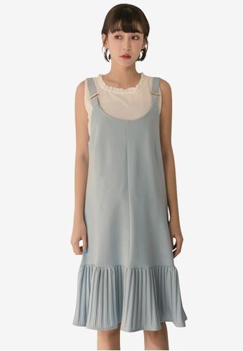 Tokichoi blue Pleated Hem Slip Dress 12990AA8E515F2GS_1