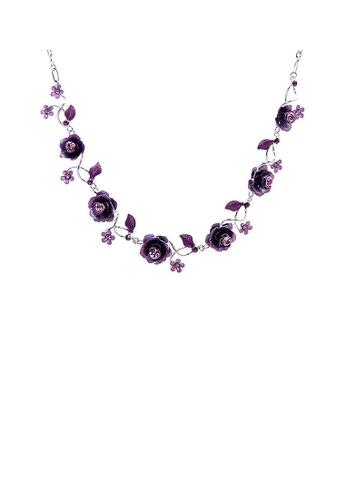 Glamorousky purple Elegant Rose Necklace with Purple Austrian Element Crystals 19F7BAC1C5D273GS_1