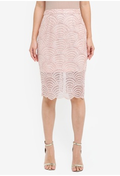 True Decadence pink Detailed Sheer Pencil Skirt 9717EAA9486E03GS_1