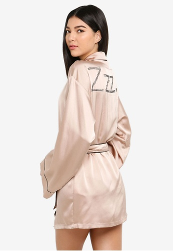 MISSGUIDED pink Lover Satin Hotfix Robe ABB96AA04A192DGS_1