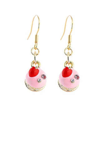 Glamorousky pink Glistering Strawberry Cake Earrings with Pink and Silver CZ CE8A9ACCAB0A46GS_1