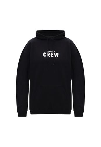 BALENCIAGA 黑色 Balenciaga Crew 兜帽衛衣(黑色) 91D07AA09A5875GS_1