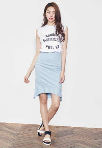 弧形荷esprit 工作葉下擺及膝短裙, 服飾, 裙子