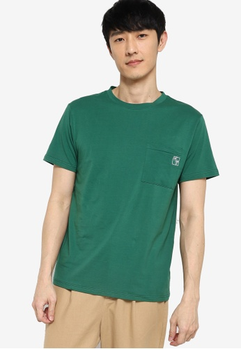 ZALORA BASICS green Embroidered Pocket T-Shirt F2E38AA92DCC23GS_1