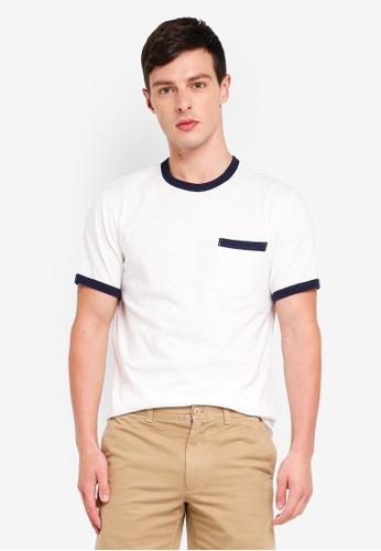 J.Crew 米褐色 雙色口袋T恤 99925AA46D4B79GS_1