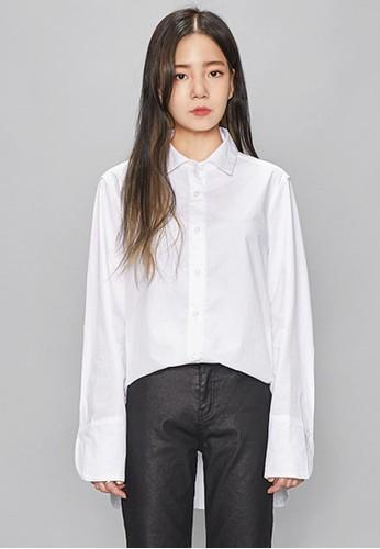 別緻細節白色襯衫, 服飾, zalora 鞋評價上衣