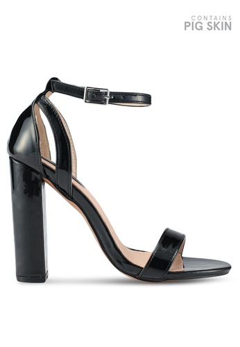 LOST INK 黑色 時尚繞帶粗跟涼鞋 3EC59SH9FEA01FGS_1