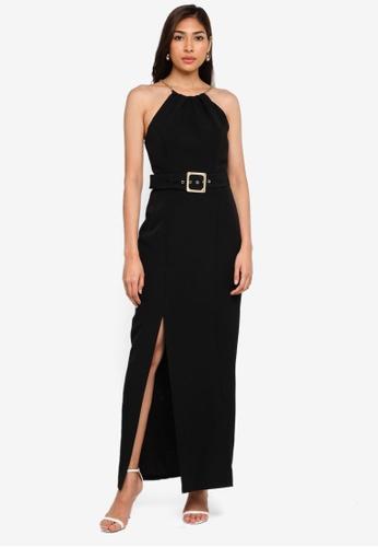 Forever New black Loretta Belted Maxi Dress 4B6CEAA7E018DEGS_1