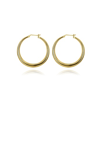 Glamorousky silver Popular Plated Gold Round Earrings 226A5AC300D3EBGS_1