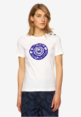 United Colors of Benetton white Printed T-shirt 390ECAA9172E3AGS_1