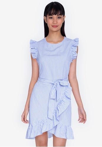 ZALORA BASICS multi Ruffle Sleeve Mini Dress with Sash 00C65AA70C27F7GS_1