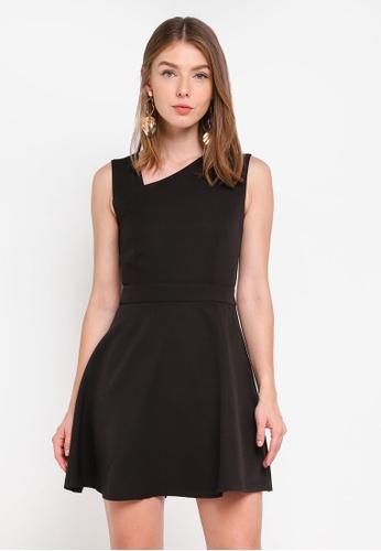 ZALORA black Asymmetric Neckline Dress B02A9AA58DC3B6GS_1