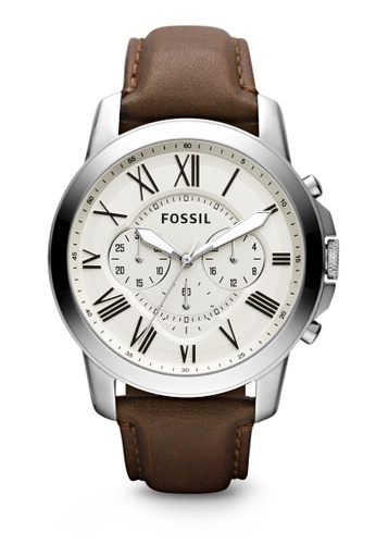 Fossil brown and beige Dark Brown/Beige Grant Chronograph Leather Watch FS4735 FO164AC99ZOYMY_1