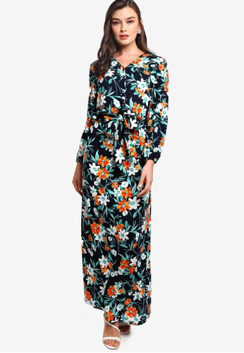 Lubna navy Tie Knot Shirt With Skirt 681A5AA5EB38D8GS_1