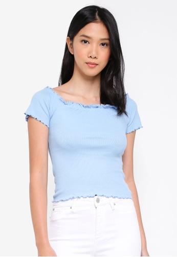 Miss Selfridge blue Blue Short Sleeve Lettuce Bardot Top F94A0AA1650F25GS_1