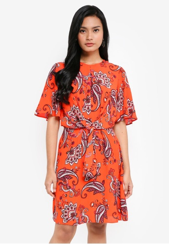 Dorothy Perkins red Red Paisley Tie Front Dress CE70CAAD4B3284GS_1